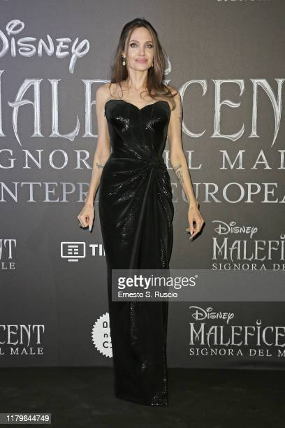 """Angelina Jolie attends the European premiere of the movie """"Maleficent – Mistress Of Evil"""" at Auditorium della Conciliazione on October 07, 2019 in..."""