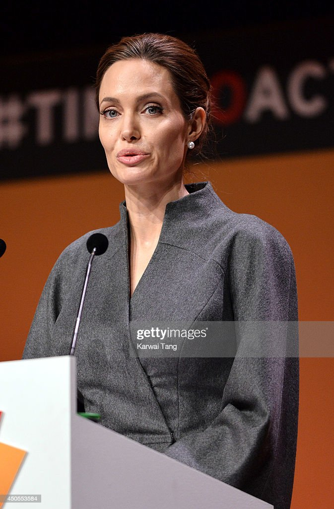 Angelina Jolie attends the Global Summit to end Sexual Violence in Conflict at ExCel on June 13, 2014 in London, England.