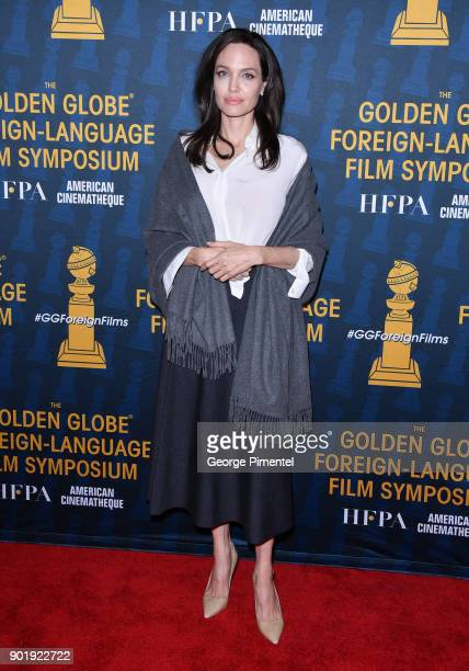 Angelina Jolie attends the HFPA and American Cinematheque Present The Golden Globe ForeignLanguage Nominees Series 2018 Symposium at the Egyptian...