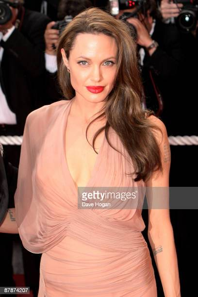 Angelina Jolie attends the Inglourious Basterds Premiere held at the Palais Des Festivals during the 62nd International Cannes Film Festival on May...