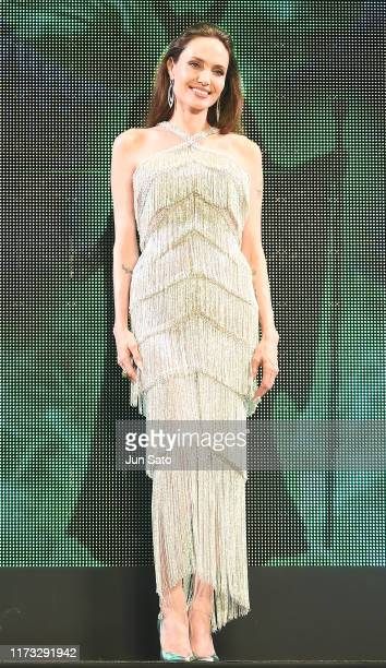 Angelina Jolie attends the Japan premiere of 'Maleficent: Mistress of Evil' at Roppongi Hills arena on October 3, 2019 in Tokyo, Japan.