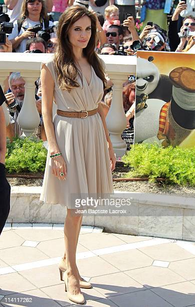 Angelina Jolie attends the 'Kung Fu Panda 2' Photocall during the 64th Cannes Film Festival at the Carlton Hotel at Palais des Festivals on May 12...