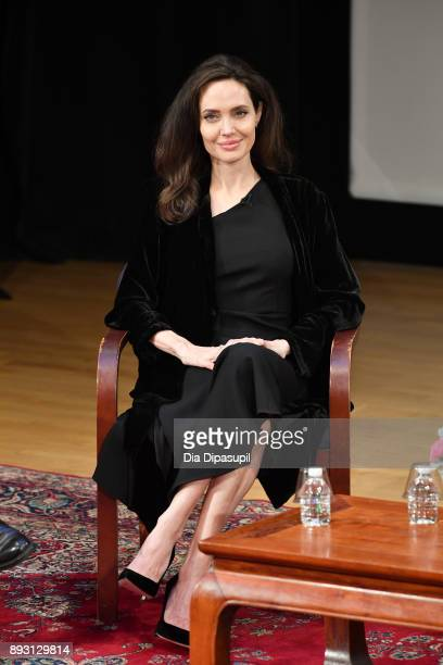 Angelina Jolie attends the 'Light After Darkness Memory Resilience and Renewal in Cambodia' discussion at Asia Society on December 14 2017 in New...