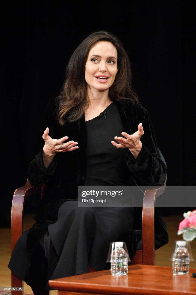 Angelina Jolie attends the 'Light After Darkness: Memory, Resilience and Renewal in Cambodia' discussion at Asia Society on December 14, 2017 in New York City.