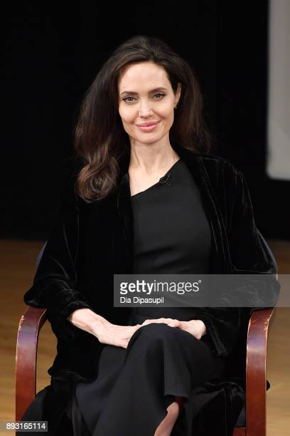 Angelina Jolie attends the Light After Darkness Memory Resilience and Renewal in Cambodia discussion at Asia Society on December 14 2017 in New York...