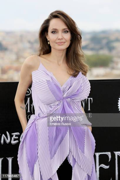 """Angelina Jolie attends the photocall of the movie """"Maleficent – Mistress Of Evil"""" at Hotel De La Ville on October 07, 2019 in Rome, Italy."""