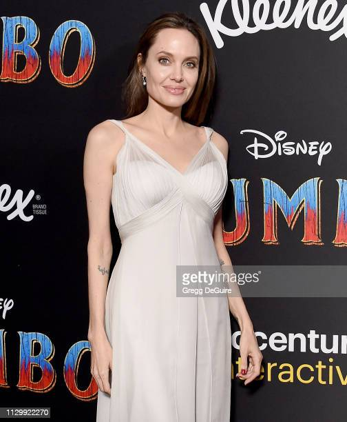 "Angelina Jolie attends the premiere of Disney's ""Dumbo"" at El Capitan Theatre on March 11, 2019 in Los Angeles, California."