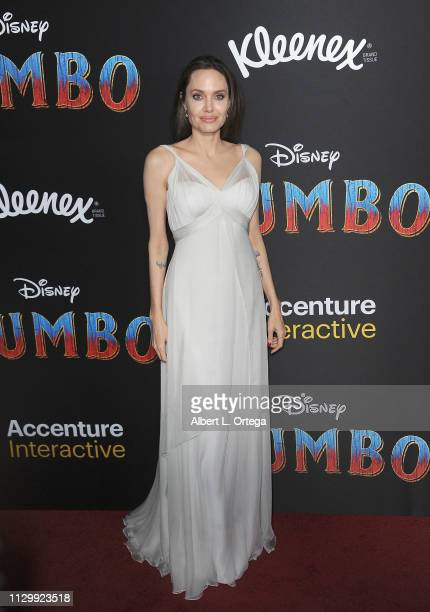 """Angelina Jolie attends the premiere of Disney's """"Dumbo"""" at El Capitan Theatre on March 11, 2019 in Los Angeles, California."""