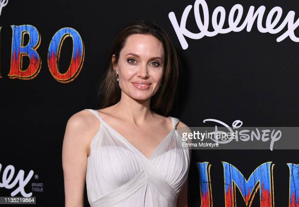 Angelina Jolie attends the premiere of Disney's Dumbo at El Capitan Theatre on March 11 2019 in Los Angeles California