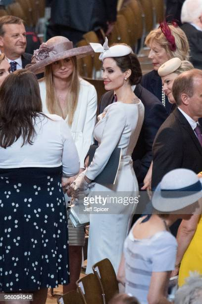 Angelina Jolie attends the Service of Commemoration and Dedication marking the 200th anniversary of the Most Distinguished Order of St Michael and St...