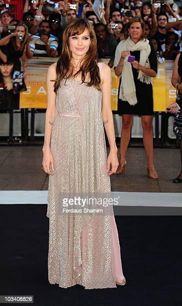 Angelina Jolie attends the UK premiere of Salt at Empire Leicester Square on August 16 2010 in London England