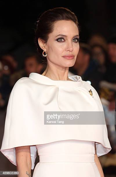 "Angelina Jolie attends the UK Premiere of ""Unbroken"" at Odeon Leicester Square on November 25, 2014 in London, England."