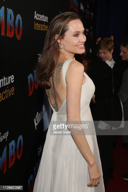 Angelina Jolie attends the World Premiere of Disney's 'Dumbo' at the El Capitan Theatre on March 11 2019 in Los Angeles California