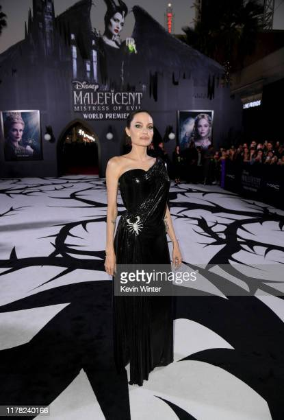 "Angelina Jolie attends the world premiere of Disney's ""Maleficent: Mistress Of Evil"" at El Capitan Theatre on September 30, 2019 in Los Angeles,..."