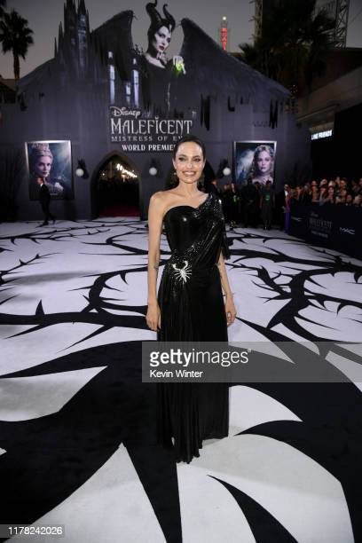 "Angelina Jolie attends the world premiere of Disney's ""Maleficent Mistress Of Evil at El Capitan Theatre on September 30 2019 in Los Angeles..."