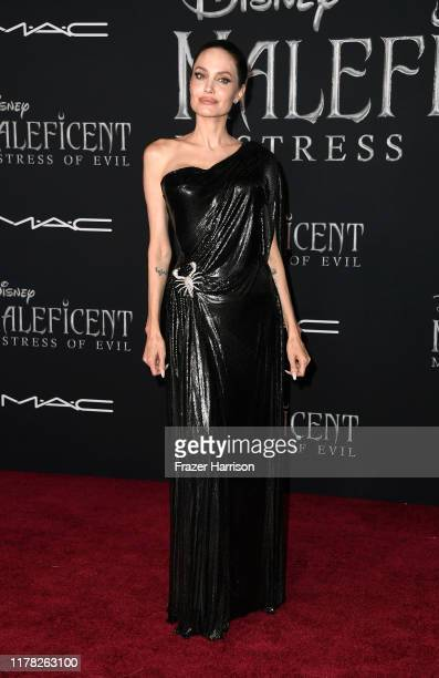 "Angelina Jolie attends the World Premiere Of Disney's ""Maleficent: Mistress Of Evil"" - Red Carpet at El Capitan Theatre on September 30, 2019 in Los..."