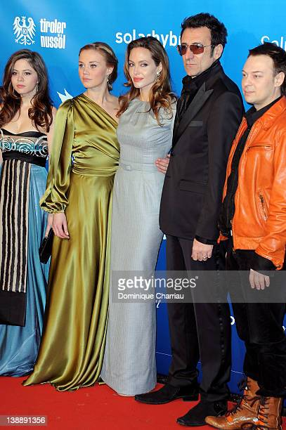 """Angelina Jolie attends withthe cast of the movie """"In The Land Of Blood And Honey"""" the Cinema for Peace Gala at the Konzerthaus Am Gendarmenmarkt..."""