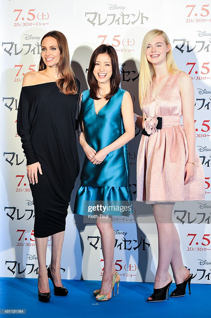 Angelina Jolie, Aya Ueto and Elle Fanning attend 'Maleficent' press conference for the Japan premiere at Grand Hyatt Tokyo on June 24, 2014 in Tokyo, Japan.