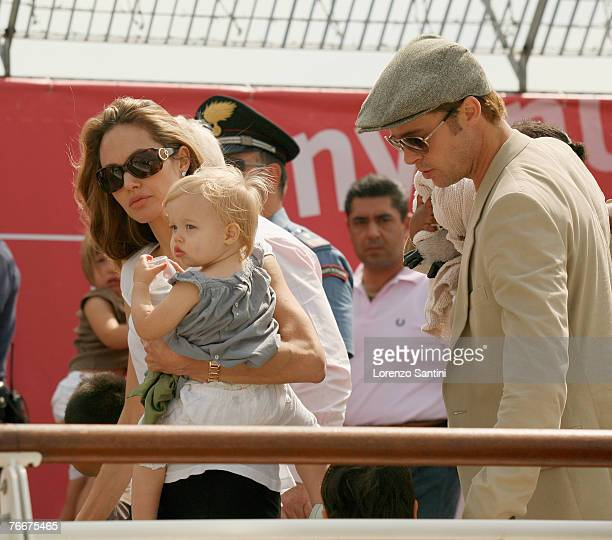 Angelina Jolie Brad Pitt and their children leaving the Cipriani Hotel of Venice by boat on their way to the Venice airport on September 3 2007 in...