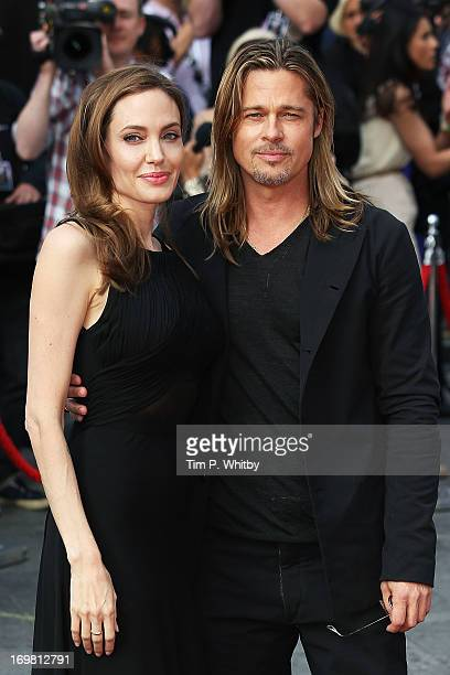 Angelina Jolie Brad Pitt attends the World Premiere of 'World War Z' at The Empire Cinema on June 2 2013 in London England