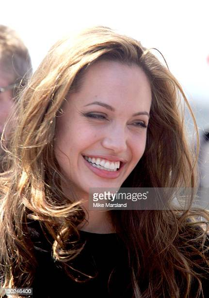 Angelina Jolie during 2004 Cannes Film Festival 'Shark Tale' Photocall at Carlton Beach Pier in Cannes France