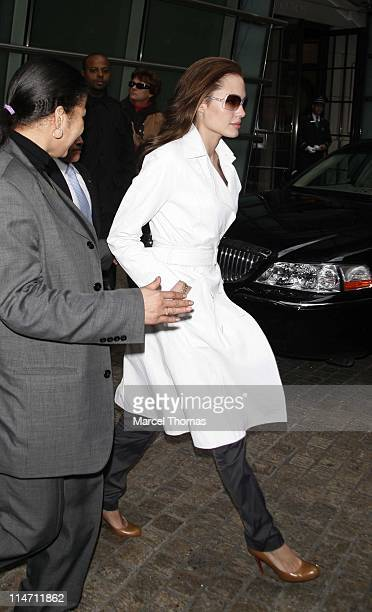 Angelina Jolie during Angelina Jolie Sighting at Bloomberg Plaza December 11 2006 at Bloomberg Plaza in New York City New York United States