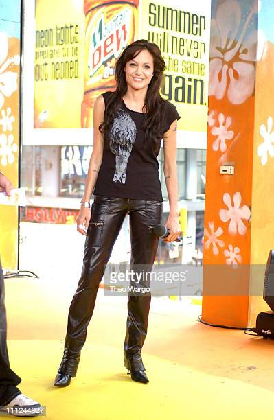 Angelina Jolie during Angelina Jolie Visits MTV's 'TRL' to Promote Her New Film 'Lara Croft Tomb Raider The Cradle of Life' July 14 2003 at MTV...