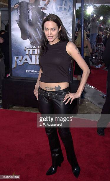 Angelina Jolie during 'Lara Croft Tomb Raider' Los Angeles Premiere at Mann's Village Theater in Westwood California United States