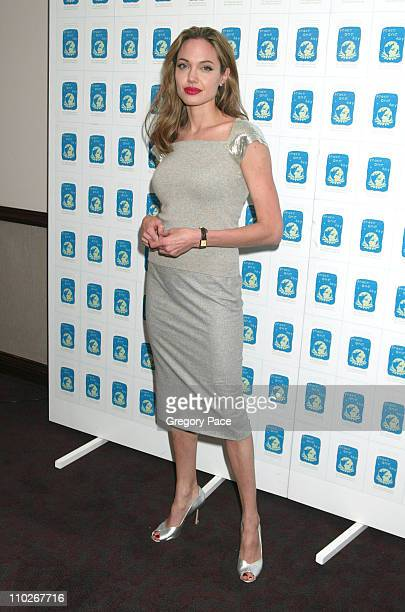 Angelina Jolie during ''Peace One Day'' New York City Screening Inside Arrivals and Green Room at Ziegfeld Theater in New York City New York United...