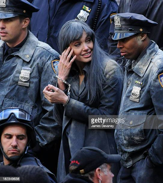 Angelina Jolie films on location for Salt on the streets of Manhattan on March 21 2009 in New York City