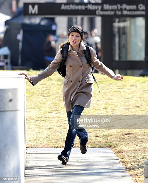 Angelina Jolie films on the set of her new movie Salt on March 5 2009 in Washington DC
