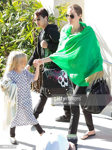 Angelina Jolie is seen after landing at Los Angeles International Airport with her children Maddox JoliePitt and Vivienne JoliePitt on February 05...