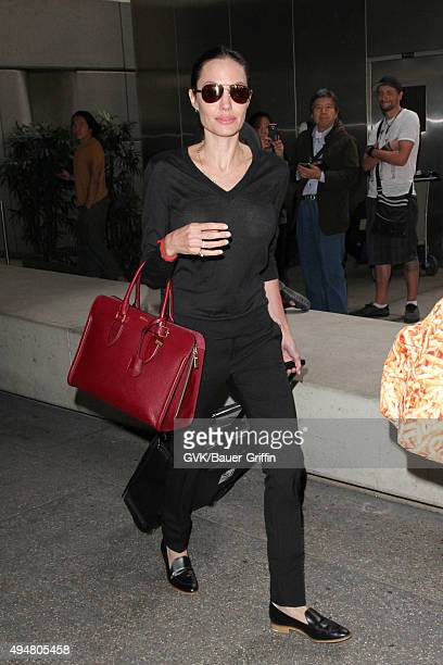 Angelina Jolie is seen at LAX on October 27 2015 in Los Angeles California