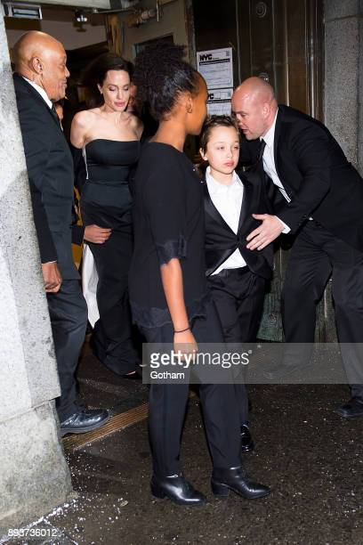 Angelina Jolie is seen in the Financial District with Zahara JoliePitt and Shiloh JoliePitt on December 15 2017 in New York City