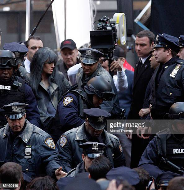 Angelina Jolie is seen on the set of the movie Salt on location in Manhattan on March 18 2009 in New York City