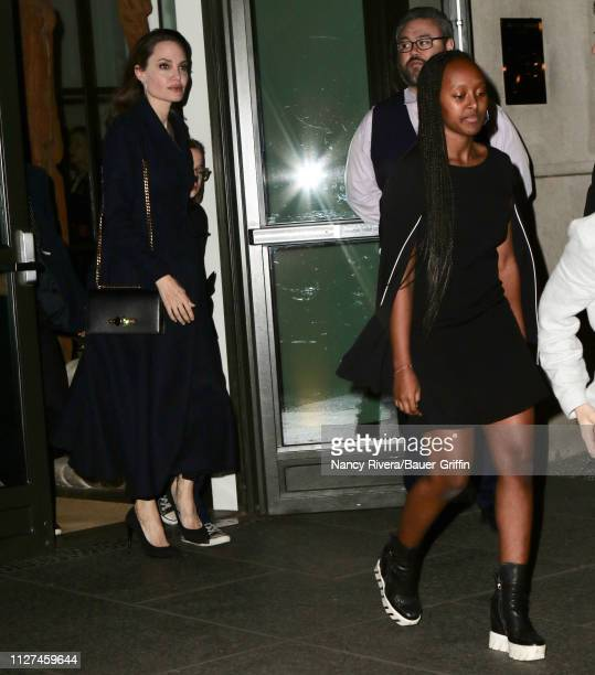 Angelina Jolie is seen with her children attending a screening of 'The Boy Who Harnessed the Wind' on February 25 2019 in New York City