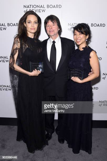 Angelina Jolie Ken Burns and Loung Ung attend the National Board of Review Annual Awards Gala at Cipriani 42nd Street on January 9 2018 in New York...