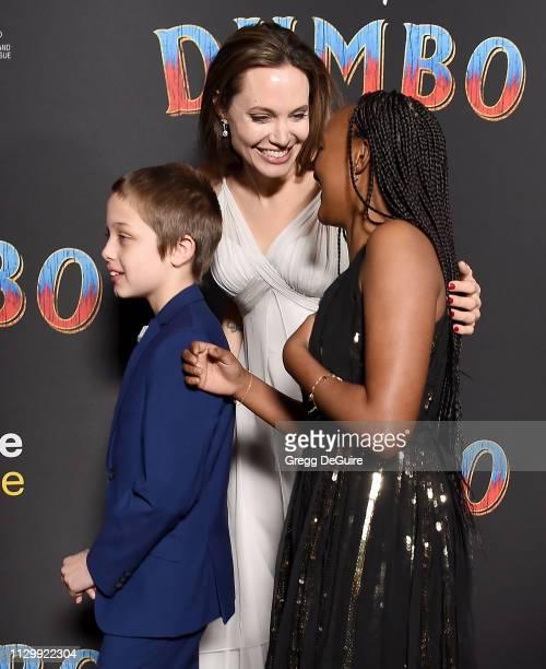 Angelina Jolie Knox Leon JoliePitt and Zahara Marley JoliePitt attend the premiere of Disney's Dumbo at El Capitan Theatre on March 11 2019 in Los...