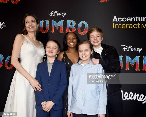 Angelina Jolie Knox Leon JoliePitt Zahara Marley JoliePitt Vivienne Marcheline JoliePitt and Shiloh Nouvel JoliePitt attend the premiere of Disney's...