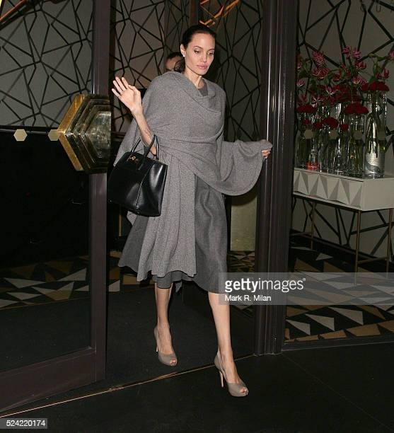 Angelina Jolie leaving Quaglinos restaurant in St James's on April 25 2016 in London England
