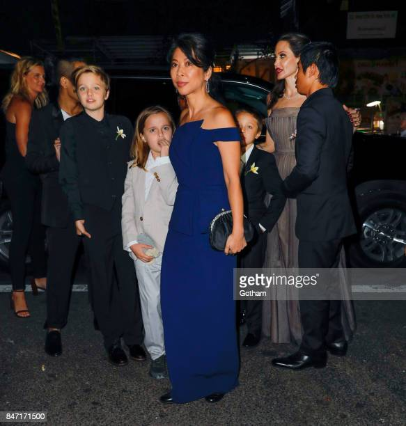 Angelina Jolie Maddox Pax Vivienne Shiloh and Knox Zahara arrive at DGA Theater after Angelina premiered her new movie there in New York City