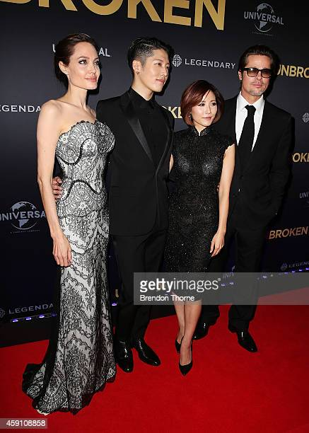 Angelina Jolie, Melody Ishihara, Miyavi Ishihara and Brad Pitt arrive at the world premiere of Unbroken at the State Theatre on November 17, 2014 in...