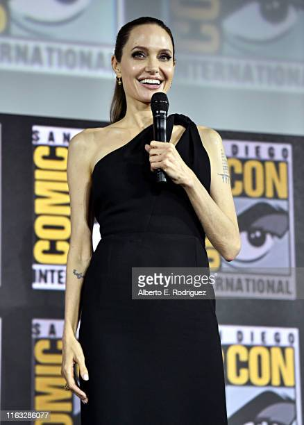 Angelina Jolie of Marvel Studios' 'The Eternals' at the San Diego Comic-Con International 2019 Marvel Studios Panel in Hall H on July 20, 2019 in San...