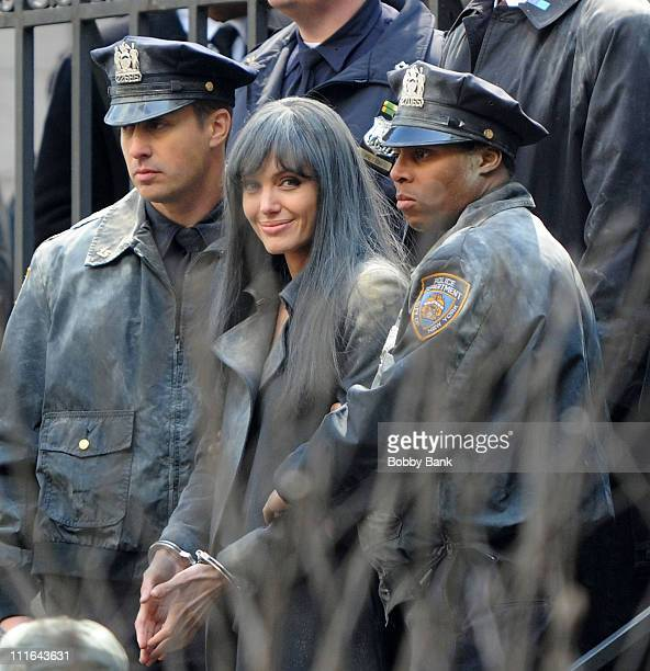 Angelina Jolie on location for the filming of '''Salt'' in Manhattan on March 21 2009 in New York City