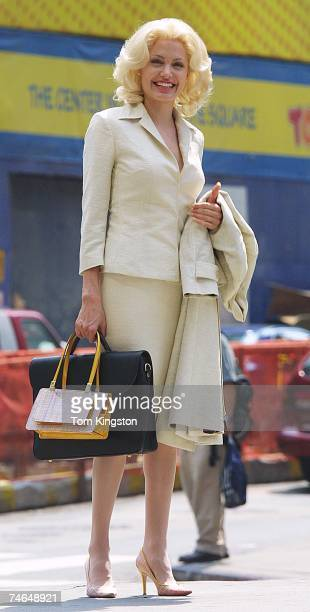 Angelina Jolie on location in Times Square NYC filming ' Life or Something Like it ' on 7/1/01 at the Times Square in New York New York
