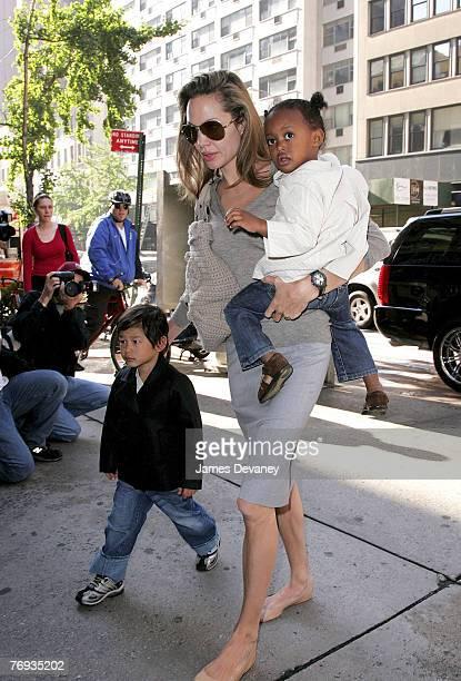 Angelina Jolie Pax JoliePitt and Zahara JoliePitt visit Borders book store on September 20 2007 in New York City