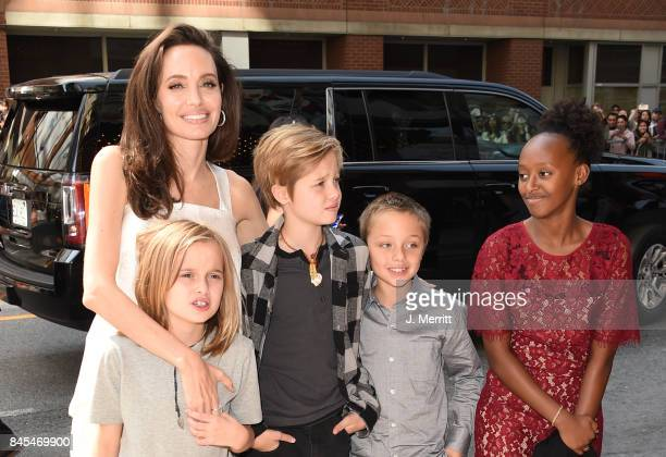 Angelina Jolie Pax Shiloh Vivienne and Zahara attend 'The Breadwinner' premiere during the 2017 Toronto International Film Festival at Winter Garden...