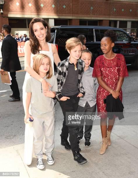 Angelina Jolie Pax Shiloh Vivienne and Zahara attend 'The Breadwinner' premiere during the 2017 Toronto International Film Festival at Winter Garden...