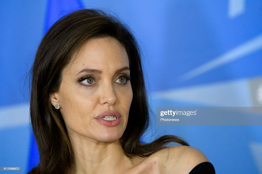 Angelina Jolie meets Jens Stoltenberg at NATO headquarters in Brussels : News Photo