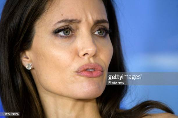 Angelina Jolie pictured during her press conference at the NATO headquarters on January 31 2018 in Brussels Belgium